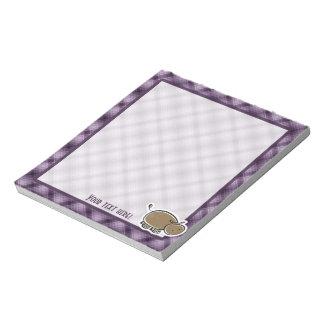Cute Hippo; Purple Memo Pad