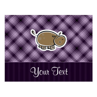 Cute Hippo; Purple Postcard
