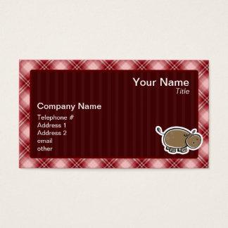 Cute Hippo; Red Plaid Business Card