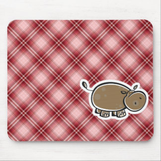 Cute Hippo; Red Plaid Mousepads