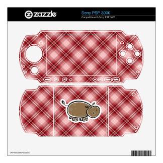 Cute Hippo; Red Plaid Sony PSP 3000 Skins
