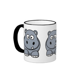Cute Hippo Ringer Coffee Mug