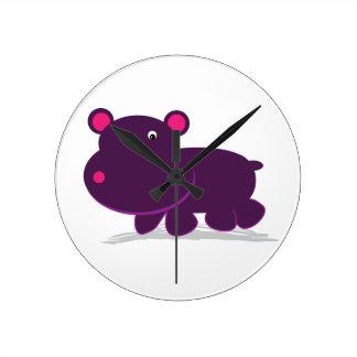 Cute Hippo Round Clock