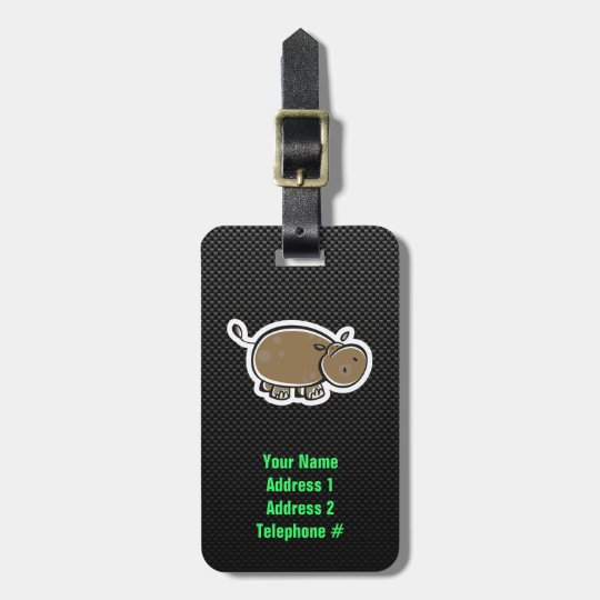 Cute Hippo; Sleek Bag Tag
