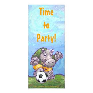 Cute Hippo Soccer Party Invitation