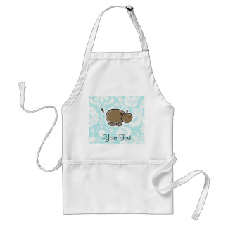 Cute Hippo; Teal Adult Apron
