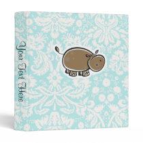 Cute Hippo; Teal Binder