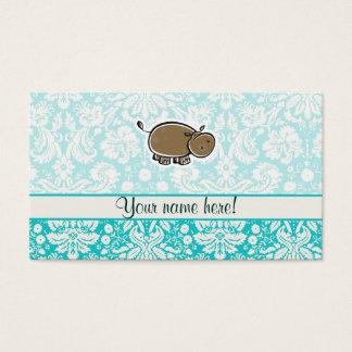 Cute Hippo; Teal Business Card