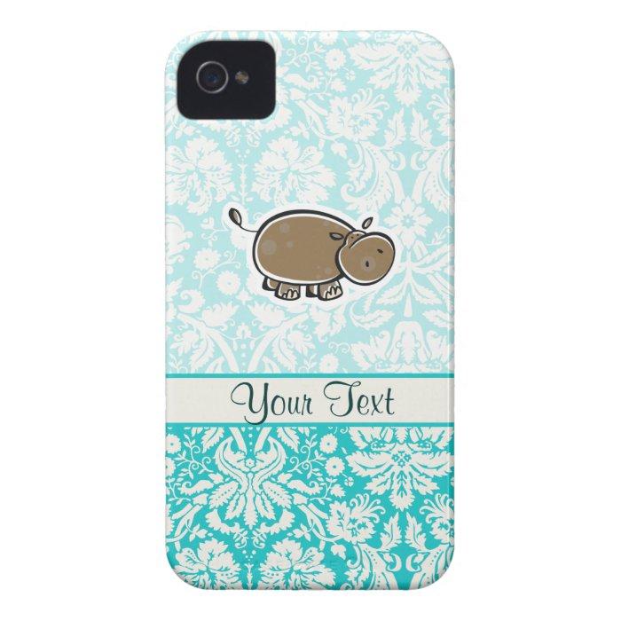 Cute Hippo; Teal Case-Mate iPhone 4 Case