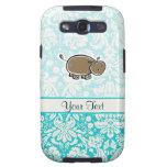 Cute Hippo; Teal Galaxy S3 Cover