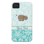 Cute Hippo; Teal iPhone 4 Covers