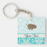 Cute Hippo; Teal Double-Sided Square Acrylic Keychain