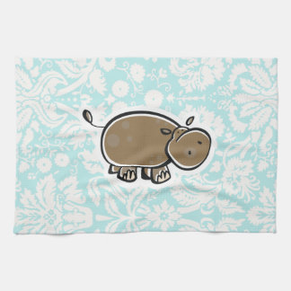 Cute Hippo; Teal Kitchen Towels