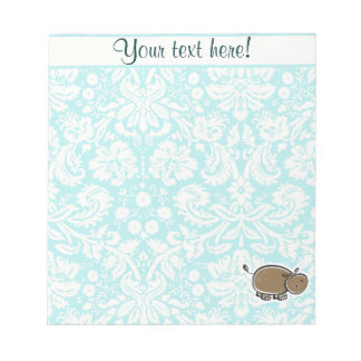 Cute Hippo; Teal Notepad