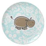 Cute Hippo; Teal Plate