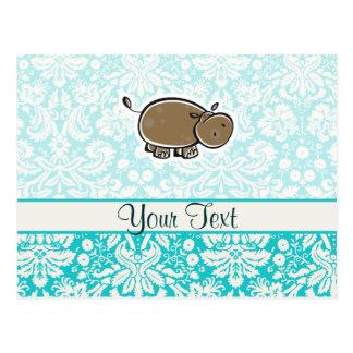 Cute Hippo; Teal Postcard