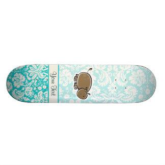Cute Hippo Teal Skate Board Decks