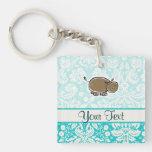 Cute Hippo; Teal Square Acrylic Key Chain