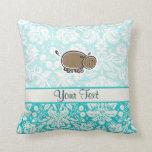 Cute Hippo; Teal Throw Pillow