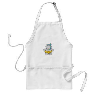 Cute Hippo with a Floating Tire and googles Adult Apron