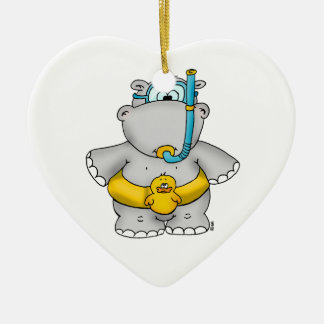 Cute Hippo with a Floating Tire and googles Double-Sided Heart Ceramic Christmas Ornament