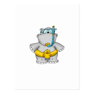 Cute Hippo with a Floating Tire and googles Postcard