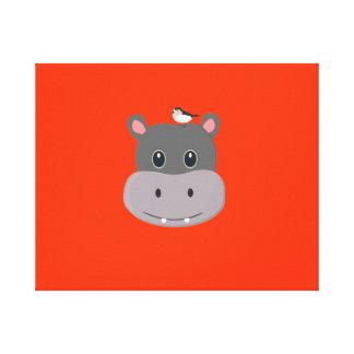cute hippo with bird canvas print