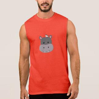 cute hippo with bird sleeveless shirt