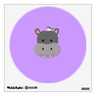 cute hippo with bird wall decal