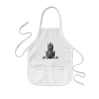 Cute Hippo with Hamsters! Kids' Apron