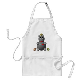 Cute Hippo with Hamsters! Adult Apron