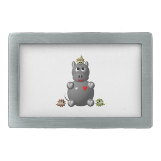 Cute Hippo with Hamsters Belt Buckle