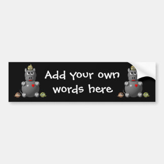Cute Hippo with Hamsters! Bumper Sticker