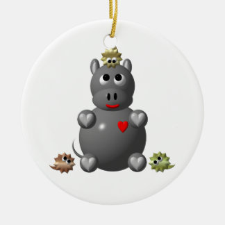 Cute Hippo with Hamsters! Ceramic Ornament