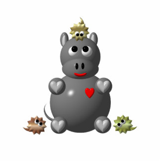 Cute Hippo with Hamsters! Cutout