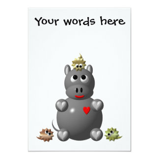 Cute Hippo with Hamsters! Personalized Announcement