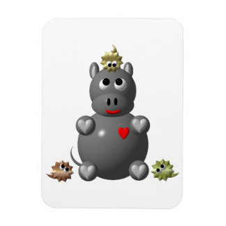 Cute Hippo with Hamsters Magnet