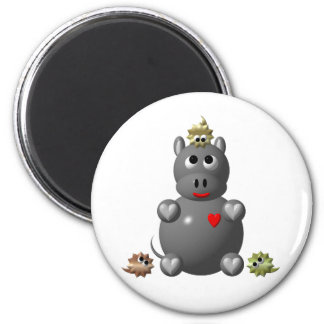 Cute Hippo with Hamsters! Magnet