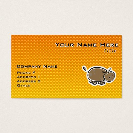 Cute Hippo; Yellow Orange Business Card