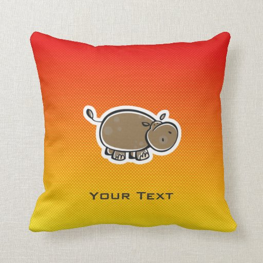 Cute Hippo; Yellow Orange Throw Pillow