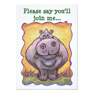 Cute Hippopotamus Birthday Card