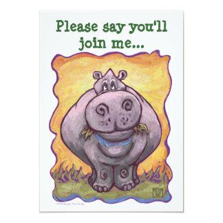 Cute Hippopotamus Birthday 5x7 Paper Invitation Card