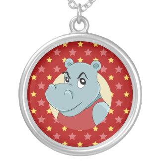 Cute hippopotamus cartoon round pendant necklace