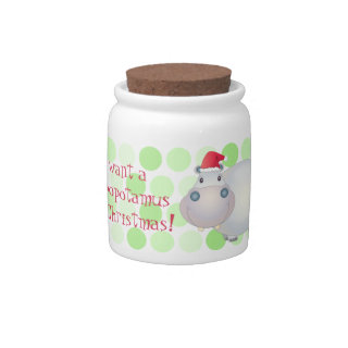 Cute Hippopotamus Hippo Christmas Xmas Candy Jar