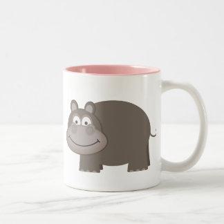 Cute Hippopotamus Two-Tone Coffee Mug