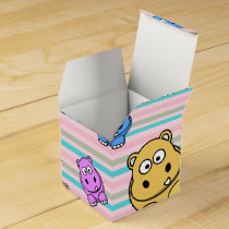 Cute Hippos Colorful Zoo Animal Theme for Children Favor Box