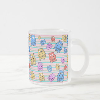 Cute Hippos Colorful Zoo Animal Theme for Children Frosted Glass Coffee Mug
