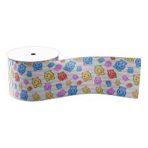 Cute Hippos Colorful Zoo Animal Theme for Children Grosgrain Ribbon