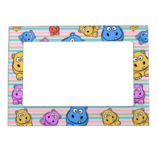 Cute Hippos Colorful Zoo Animal Theme for Children Magnetic Frame