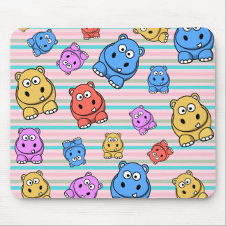 Cute Hippos Colorful Zoo Animal Theme for Children Mouse Pad